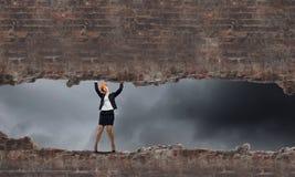 женщина bacground изолированная инженером белая Стоковые Фото