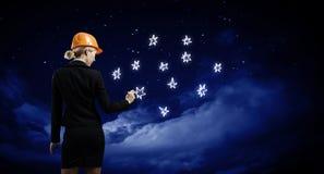 женщина bacground изолированная инженером белая стоковые изображения
