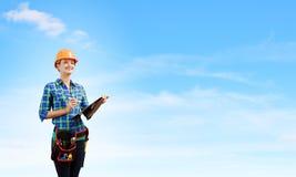 женщина bacground изолированная инженером белая стоковое изображение rf