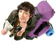 женщина backpack стоковые изображения