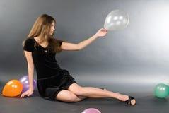 женщина baloons Стоковая Фотография