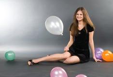 женщина baloons Стоковые Фото