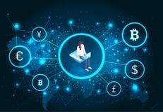 Женщина Bitcoin Cryptocurrency с вектором ноутбука иллюстрация вектора