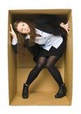 женщина carboard коробки Стоковое фото RF