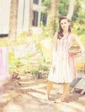 женщина clothesline Стоковое Изображение