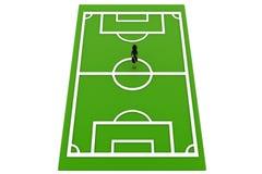 женщина 3d в концепции футбольного поля Стоковое фото RF