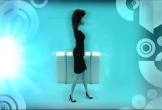 женщина 3d нося большую иллюстрацию чемодана Стоковые Фотографии RF