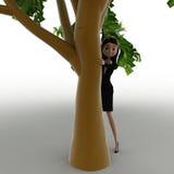 женщина 3d пряча за тележкой концепции дерева Стоковая Фотография