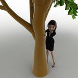 женщина 3d пряча за тележкой концепции дерева Стоковая Фотография RF