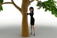 женщина 3d пряча за тележкой концепции дерева Стоковые Фотографии RF