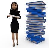 женщина 3d с концепцией компьтер-книжки и файлов Стоковые Фотографии RF