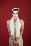 женщина facepaint кота Стоковое фото RF
