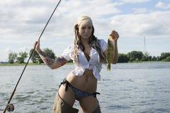 Женщина Fisher Стоковые Фото