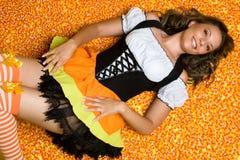 женщина halloween конфеты Стоковые Изображения