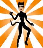 женщина halloween кота Стоковая Фотография