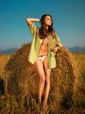 женщина haystack сексуальная Стоковые Изображения