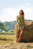 женщина haystack стоковые изображения