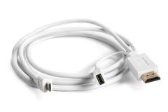 Женщина HDMI к микро- мужчине USB и кабелю соединительной муфты с внутренней резьбой Стоковые Изображения RF