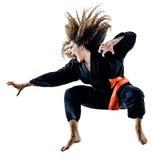 Женщина Kung Fu Pencak Silat изолировала Стоковое Изображение