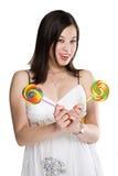 женщина lollipops Стоковое Изображение RF