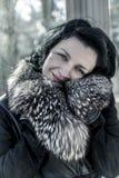 Женщина Luxury.Beautiful в зиме. Девушка фотомодели красоты в a стоковая фотография rf