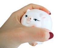 женщина moneybox руки piggy Стоковые Фото