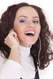 женщина mp3 плэйер Стоковое Изображение