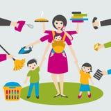 Женщина Multitask Мать, коммерсантка с детьми и слингом yin bab, утюжить, работа, coocking и вызывать иллюстрация вектора