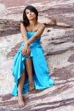 женщина outdoors платья официально Стоковая Фотография RF