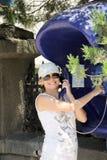 женщина payphone сь Стоковая Фотография RF