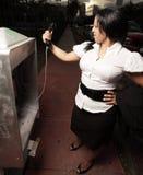 женщина payphone upset Стоковые Фотографии RF