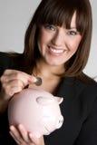 женщина piggybank Стоковое Изображение RF