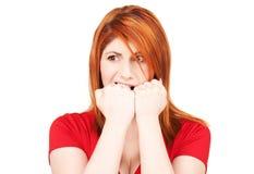 женщина redhead несчастная Стоковое Фото