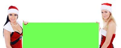 женщина santa знамени пустая зеленая держа молодая Стоковое Изображение RF