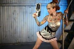 женщина sci пушки fi Стоковые Изображения RF