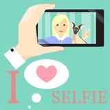 Женщина Selfie с сиамским котом Стоковые Фото