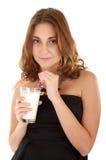женщина shake молока Стоковое Изображение RF