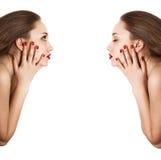 женщина sideview портрета коллажа красотки Стоковые Изображения RF