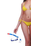 женщина snorkel изумлённых взглядов стоковая фотография rf