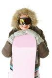 женщина snowboard клобука ся Стоковое Изображение