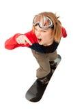 женщина snowboard Стоковое Фото