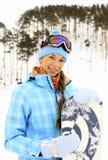 женщина snowboard стоковое изображение
