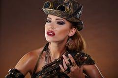 Женщина Steampunk Мода фантазии Стоковое фото RF