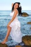 женщина sundress seacoast белая Стоковое Изображение RF