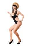 женщина swimsuit солнечных очков шерсти крышки нося стоковые изображения