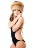женщина swimsuit шерсти крышки стоковое фото rf