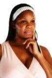 женщина thinkin афроамериканца Стоковые Изображения