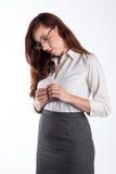 Женщина Thoughful с красными волосами Стоковые Изображения