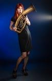 женщина trumpet Стоковые Фото
