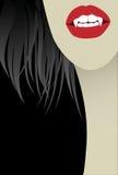 женщина vamp черной стороны предпосылки Стоковое фото RF